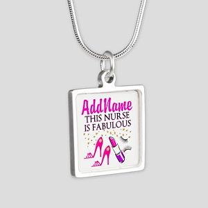 FABULOUS NURSE Silver Square Necklace