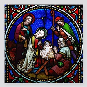 """Stained Glass Nativity Square Car Magnet 3"""" x 3"""""""