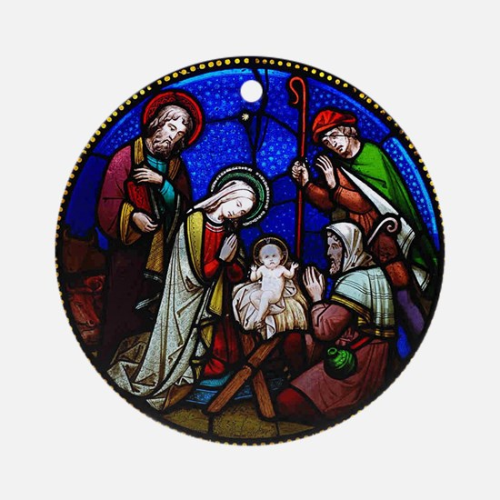 Stained Glass Nativity Round Ornament