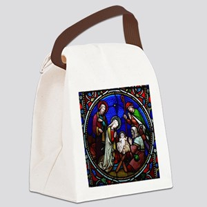 Stained Glass Nativity Canvas Lunch Bag