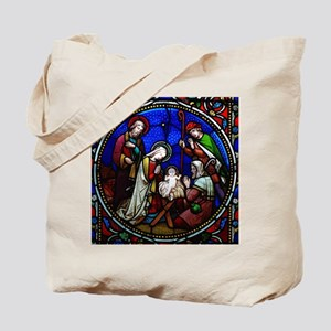 Stained Glass Nativity Tote Bag