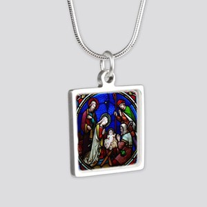 Stained Glass Nativity Silver Square Necklace