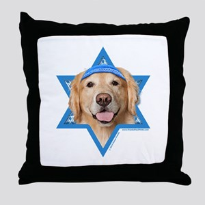 Hanukkah Star of David - Golden Throw Pillow