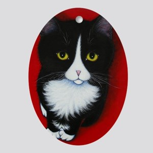 harry kitten red Oval Ornament