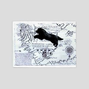 Newfoundland dog Map 5'x7'Area Rug