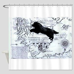 Newfoundland dog Map Shower Curtain