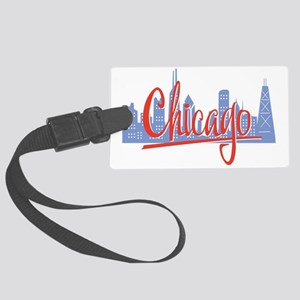 Chicago Red Script On Dark Large Luggage Tag
