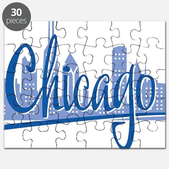 Chicago Script Lght Blue for Dark Puzzle