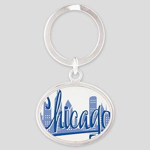 Chicago Script Lght Blue for Dark Oval Keychain