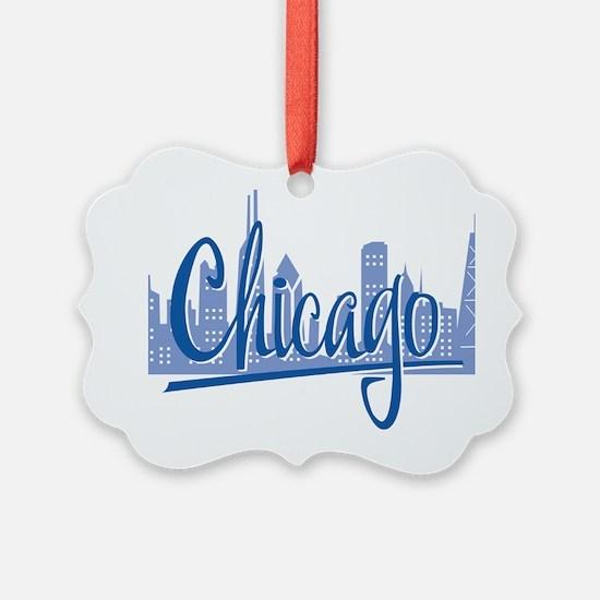 Chicago Script Lght Blue for Dark Ornament