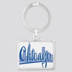 Chicago Script Lght Blue for Da Landscape Keychain