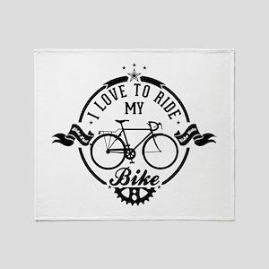 I Love To Ride My Bike Throw Blanket
