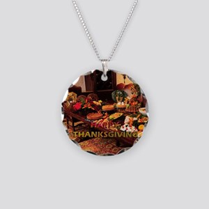 Thanksgiving Dinner Doxies 1 Necklace Circle Charm