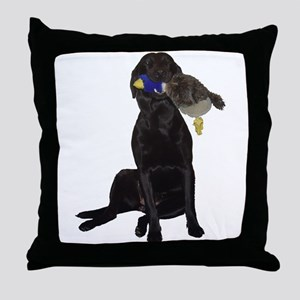 lab with duck Throw Pillow