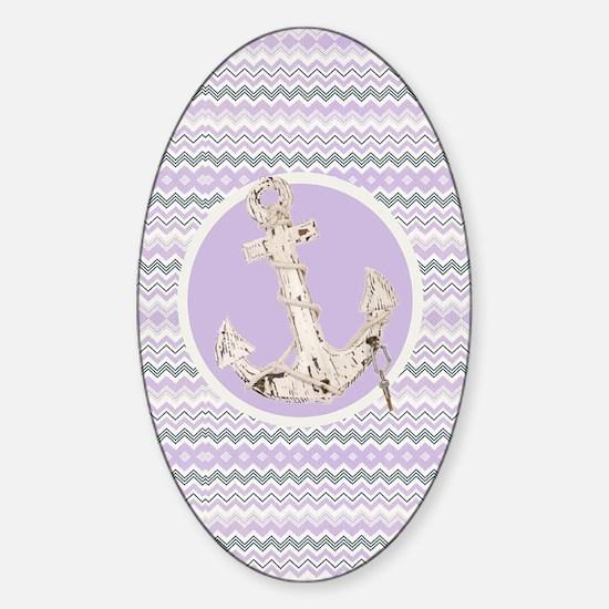 modern purple zigzag pattern anchor Sticker (Oval)
