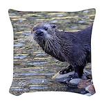 River Otter Woven Throw Pillow