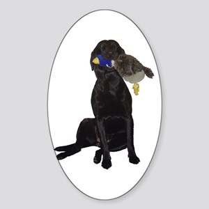 lab with duck Oval Sticker
