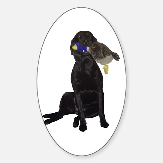 lab with duck Oval Decal
