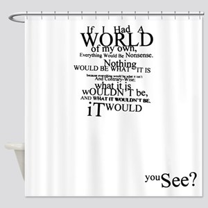 Alice in Wonderland Typographic Nonsense Shower Cu