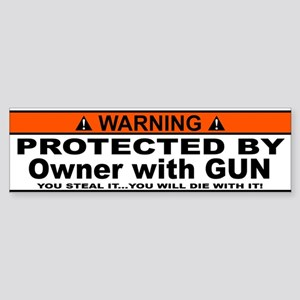 protected by gun owner Bumper Sticker