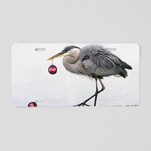 Christmas Heron Aluminum License Plate