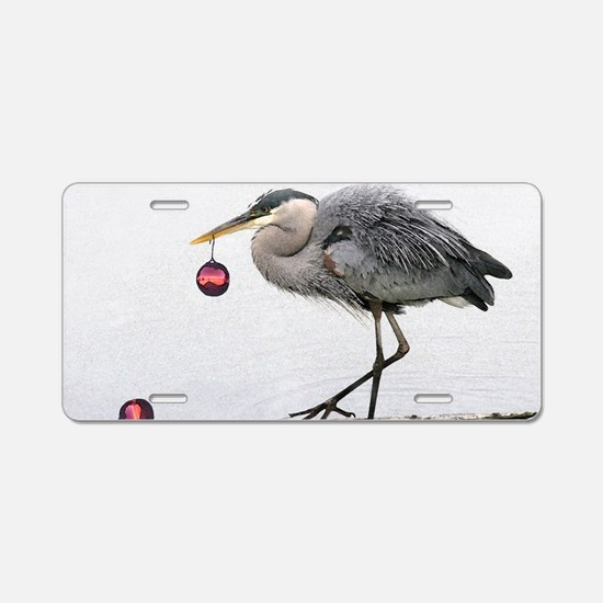 Christmas Heron Aluminum License Plate