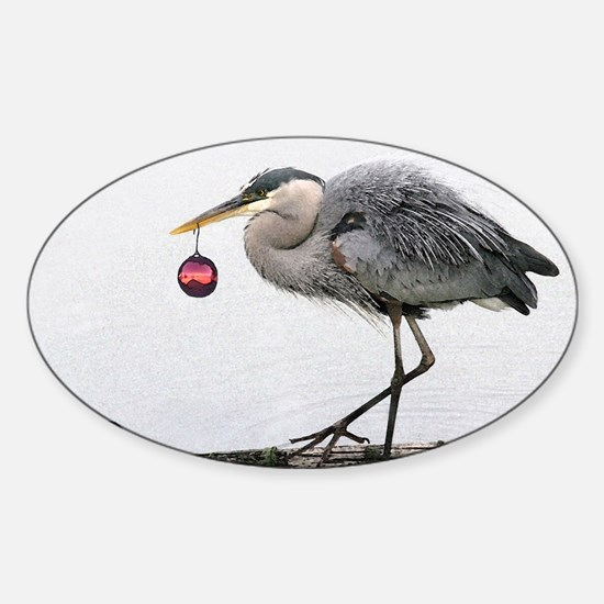 Christmas Heron Sticker (Oval)