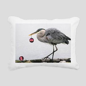 Christmas Heron Rectangular Canvas Pillow