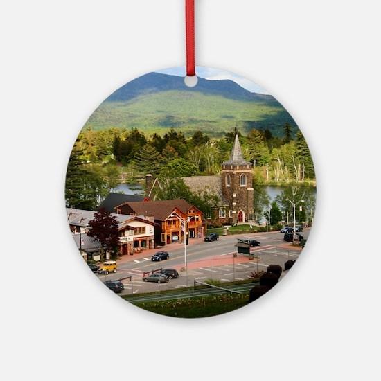 LakePlacidS FramedPanelPrint Round Ornament