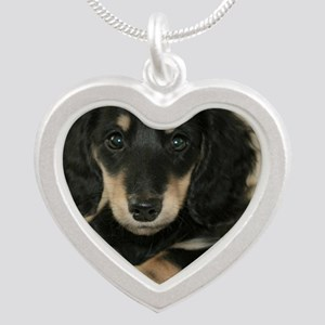 long hair black doxie 16x12 Silver Heart Necklace