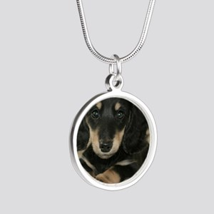 long hair black doxie 16x12 Silver Round Necklace