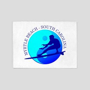 Myrtle Beach (yin-yang) Blue 5'x7'Area Rug