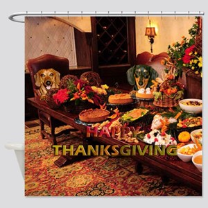 Thanksgiving Dinner Doxies Shower Curtain