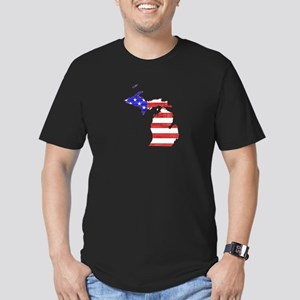 Michigan Flag Men's Fitted T-Shirt (dark)