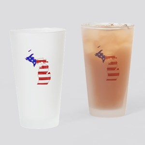 Michigan Flag Drinking Glass