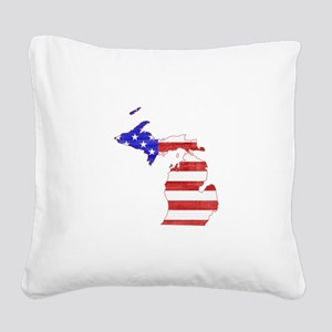 Michigan Flag Square Canvas Pillow