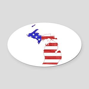 Michigan Flag Oval Car Magnet