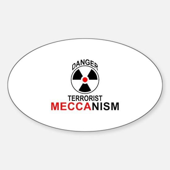 Danger Terrorist Mechanism Oval Decal