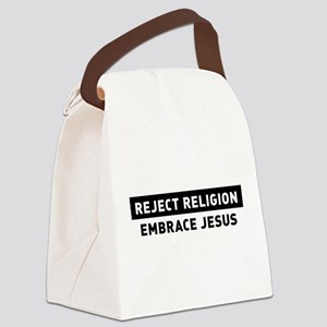 Reject Religion / Embrace Jesus Canvas Lunch Bag