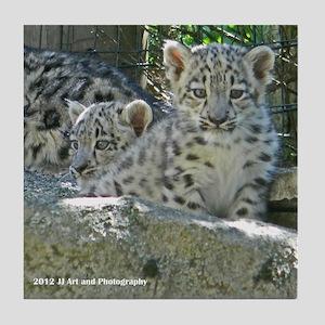 Snow Leopard Cubs Tile Coaster