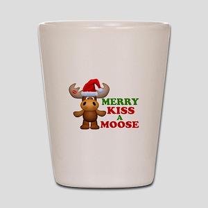 Cute Merry Kiss A Moose Christmas Shot Glass