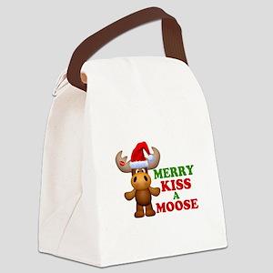Cute Merry Kiss A Moose Christmas Canvas Lunch Bag