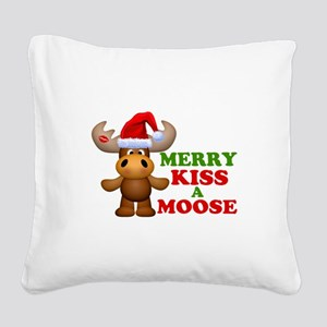 Cute Merry Kiss A Moose Christmas Square Canvas Pi