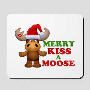Cute Merry Kiss A Moose Christmas Mousepad