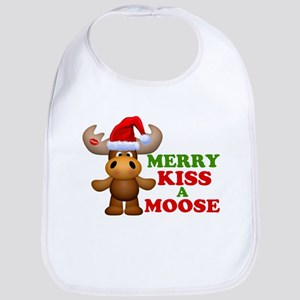 Cute Merry Kiss A Moose Christmas Bib