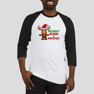Cute Merry Kiss A Moose Christmas Baseball Jersey