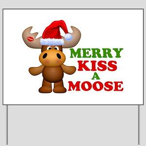 Cute Merry Kiss A Moose Christmas Yard Sign