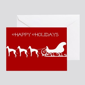 Italian Greyhound And Sleigh Greeting Cards