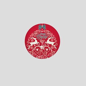 Christmas Bulb Reindeer Mini Button