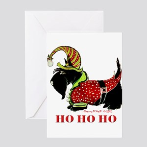 Santas Scottie Elf Greeting Cards